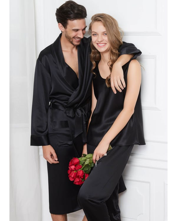 22 Momme Bekväma Siden Par Pyjamas Och Camisole Set