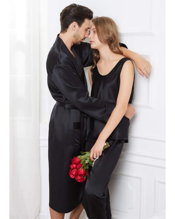 22 Momme Bekväma Siden Par Pyjamas Och Camisole Set-hover