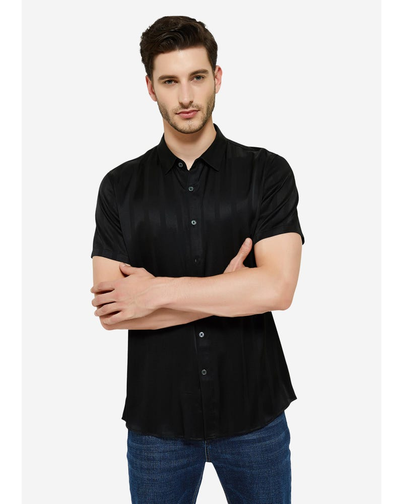 Jacquard Striped Silk Shirt For Men
