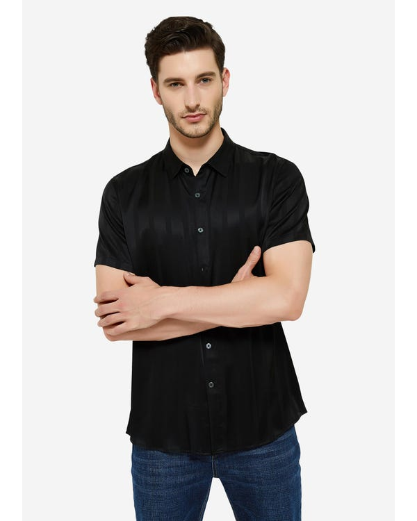 Jacquard Striped Silk Shirt For Men