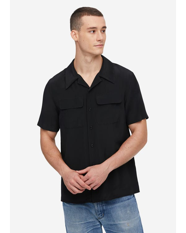 Mens Classic Short Sleeve Silk Shirt