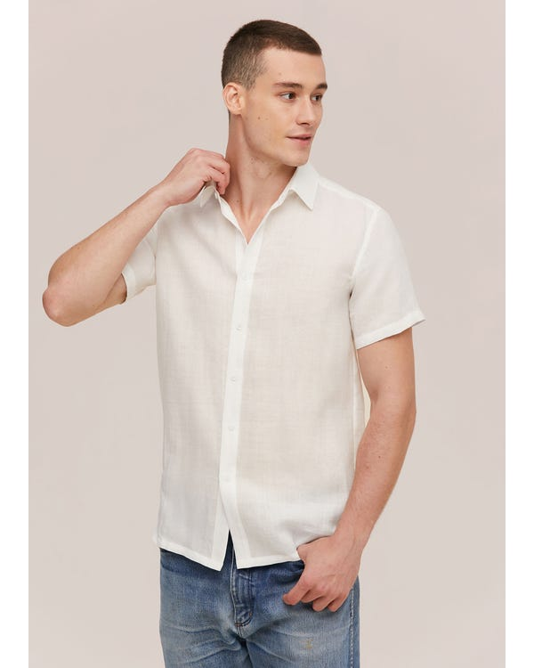 Basic Linen Short Sleeve Shirt For Men