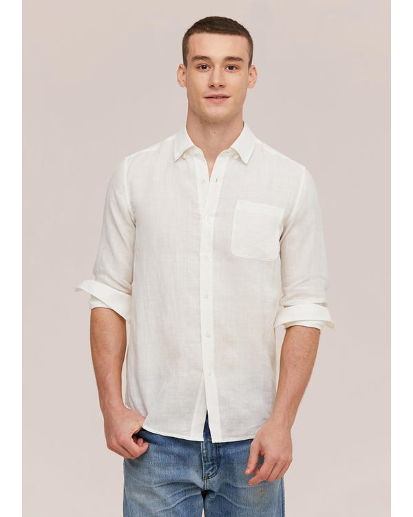 Basic Linen Long Sleeve Shirt For Men