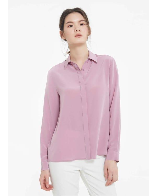 Långärmad Mjuk Mångsidig Silkeskjorta-hover