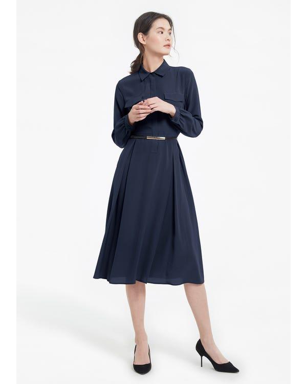 Women's Long Sleeve Retro Graceful Silk Dress