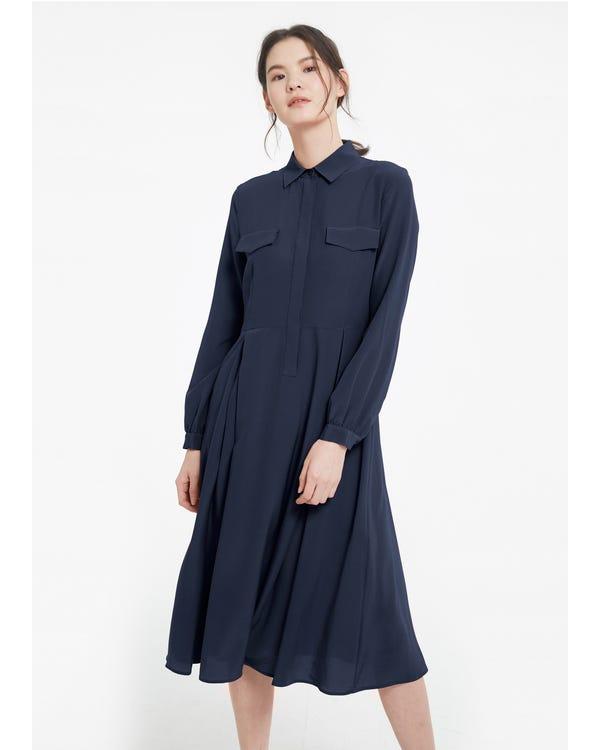 Women's Long Sleeve Retro Graceful Silk Dress-hover