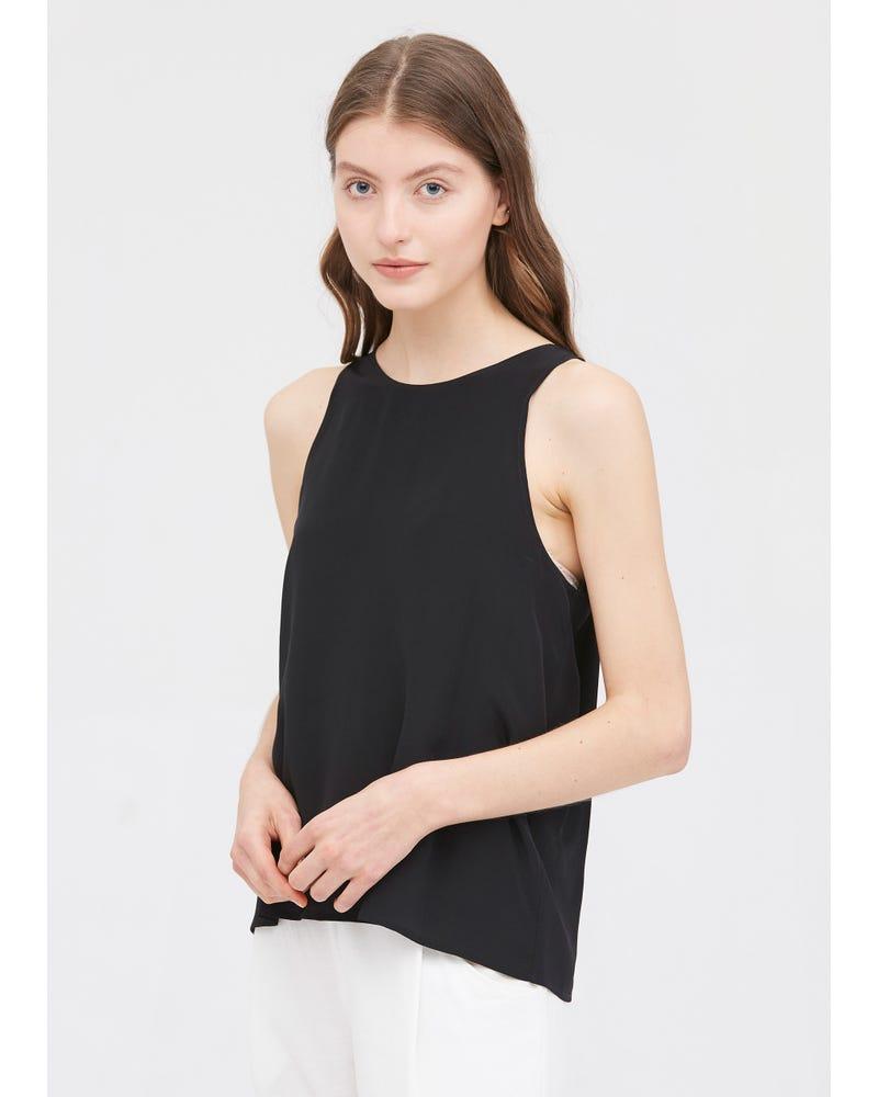 Round Neck Sleeveless Silk Camisoles