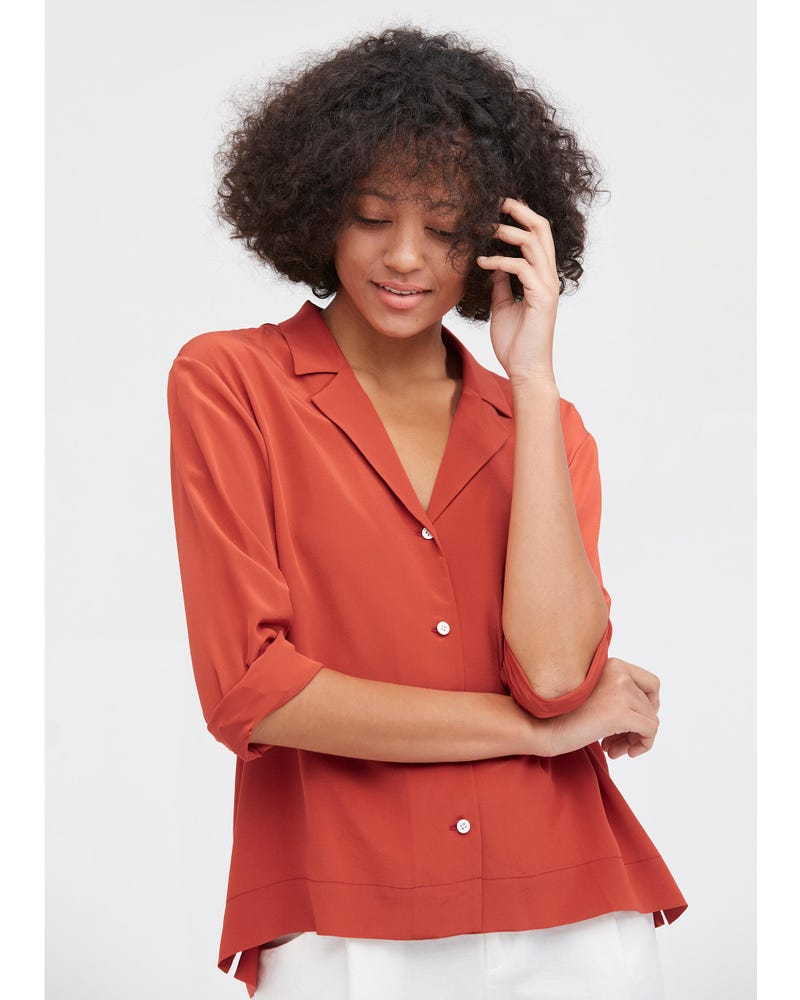 Elegant Långärmad Silkskjorta