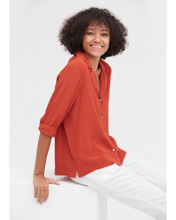 Elegant Långärmad Silkskjorta-hover