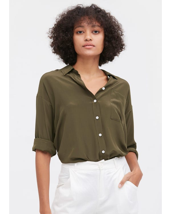 Drop Shoulders Oversize Silk Shirt
