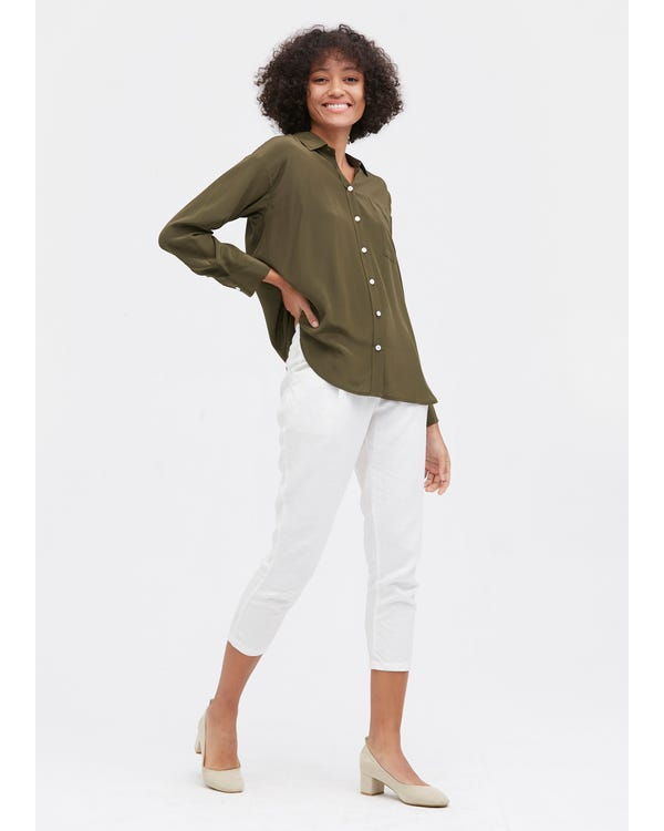 Drop Shoulders Oversize Silk Shirt-hover