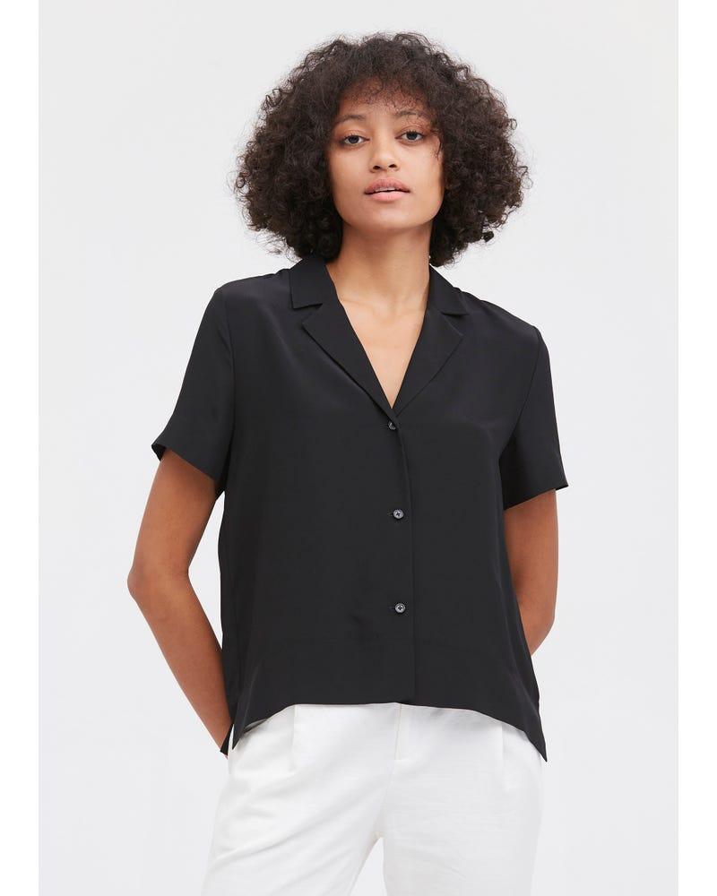 V-halva Ärmhårig Silke Skjorta