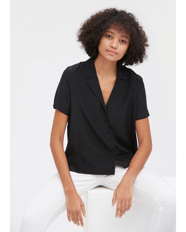 V-halva Ärmhårig Silke Skjorta-hover