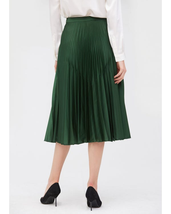 Retro Pleated Midi Silk Skirt-hover