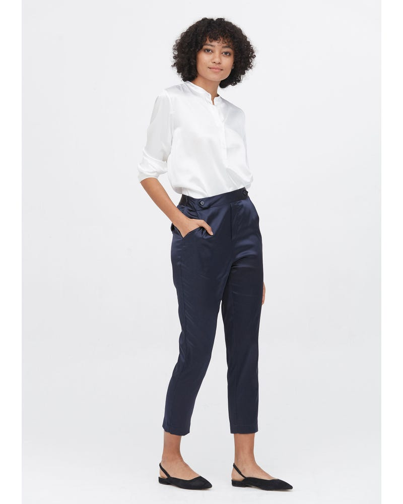 Comfort Fit Silk Cigarette Pants