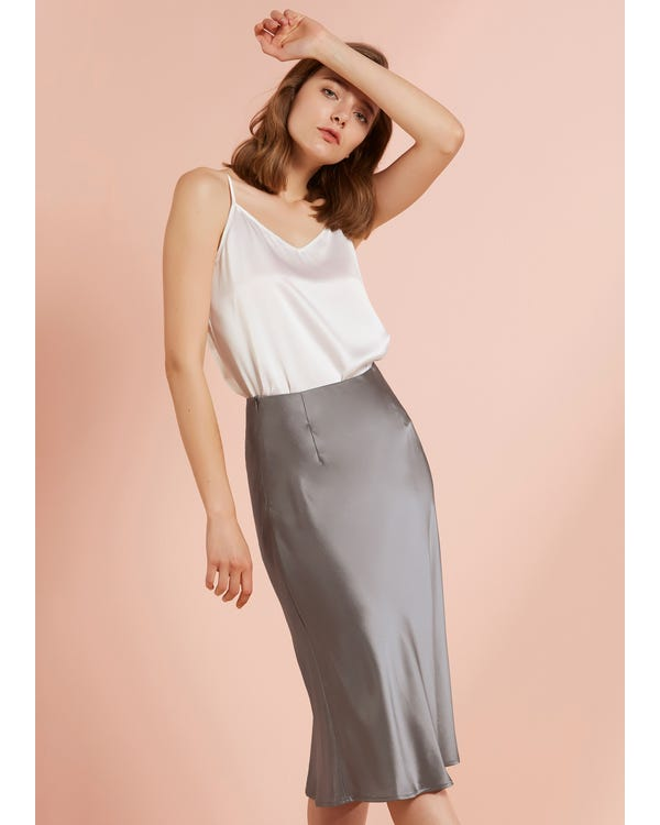 Knee-Length Hips-Wrapped Silk Pencil Skirt
