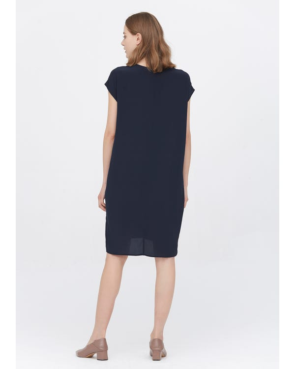 Casual Above Knee Shift Silk Dress-hover