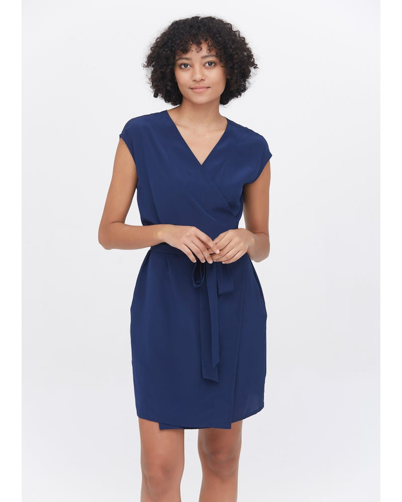 Elegant Silk V-Neck wrap Dress