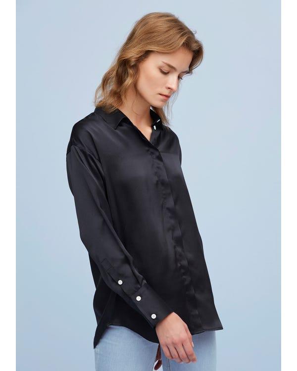 Elegant Och Avslappnad Passform Silkeskjorta-hover