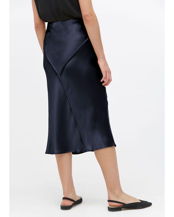 Chic Elegant Silk Midi Skirt-hover