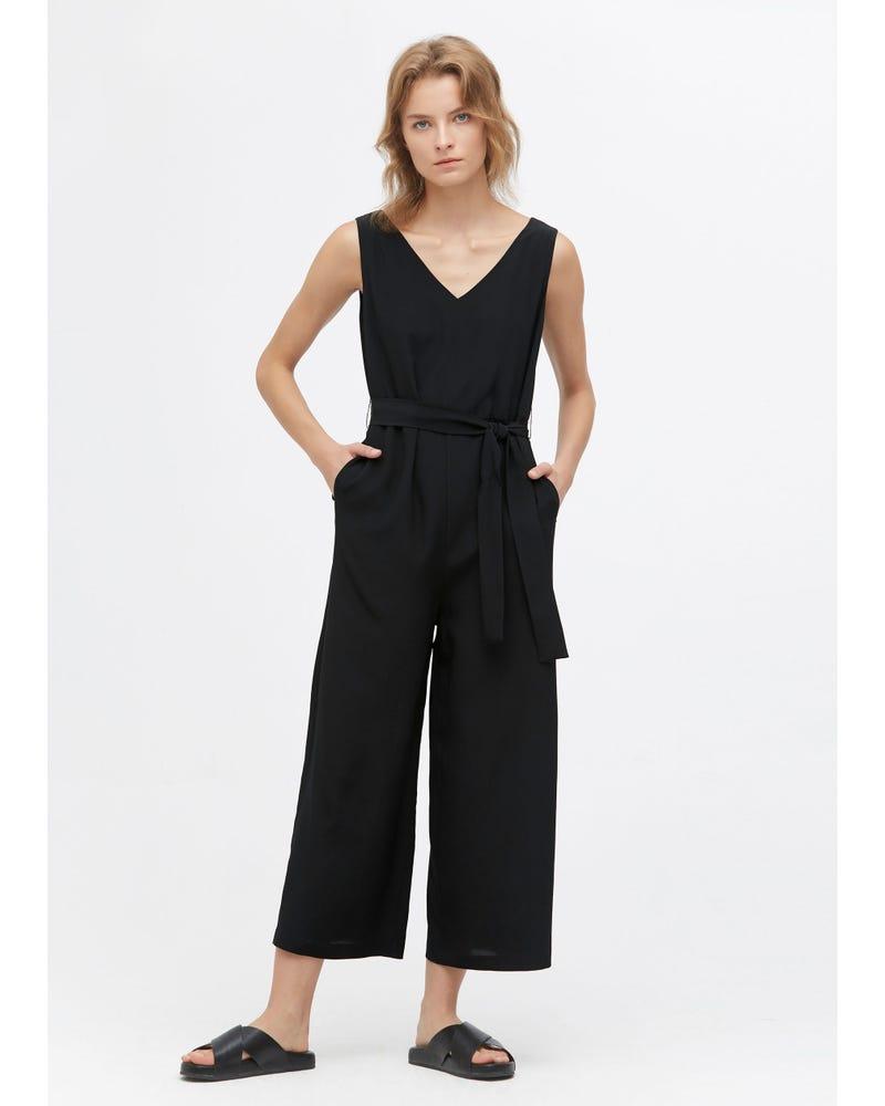 Chic Wide Leg Silk Jumpsuit