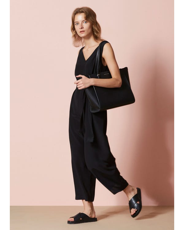 Chic Wide Leg Silk Jumpsuit-hover