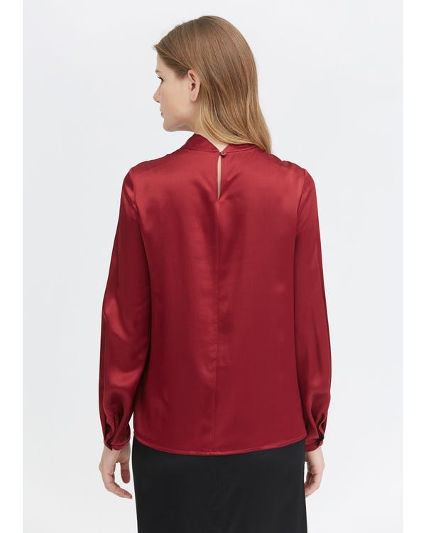 Charming Twist Neck Silk Blouse-hover