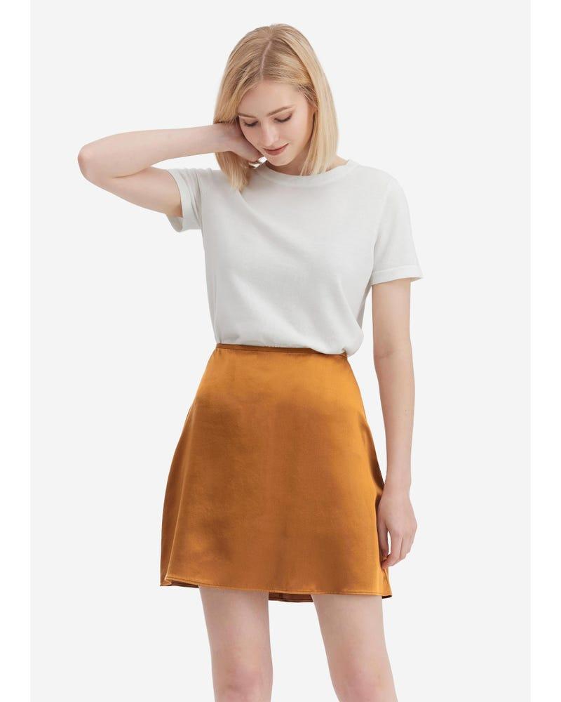 Silk A Line Mini Skirt