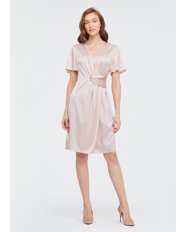 Stylish Overlapping Design Silk Dress-hover