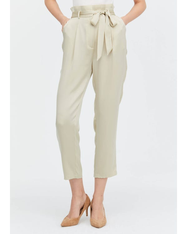 Bow Tie Silk Straight Pants-hover