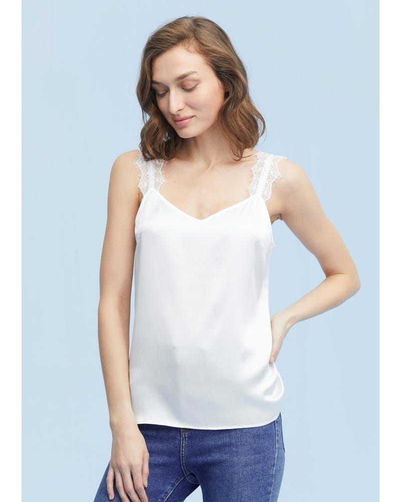 Elegant V-Neck Silk Camisole With Lace