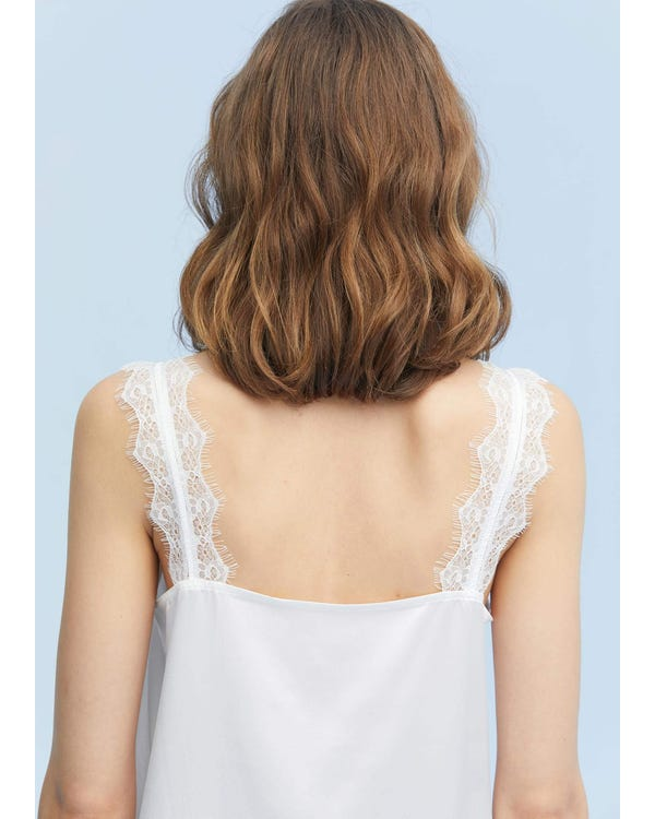 Elegant V-Neck Silk Camisole With Lace-hover