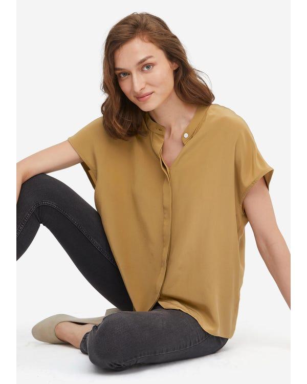 Concise Stand Collar Silk Shirt