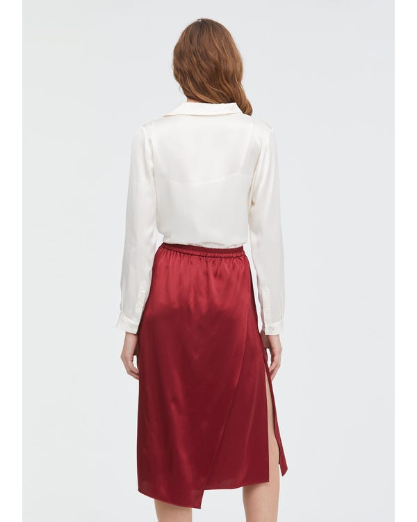 Graceful and Body-flattering Silk Midi Skirt-hover