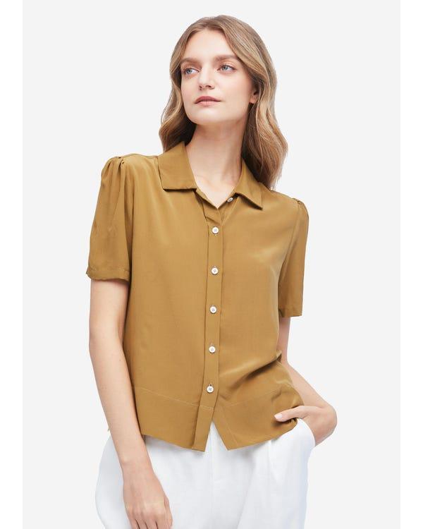Avslappnad Puff-ärm Lös Silkeskjorta