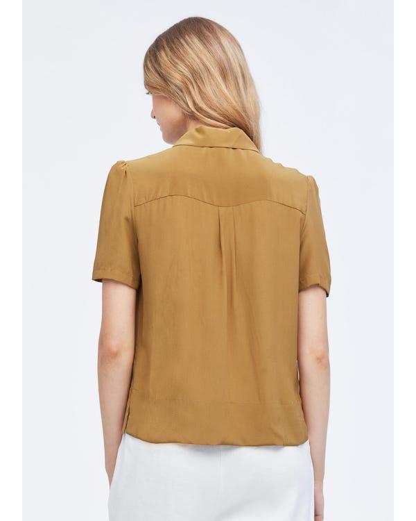 Avslappnad Puff-ärm Lös Silkeskjorta-hover