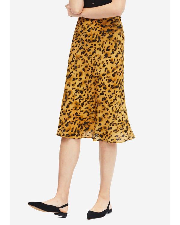Leopardtryck Elastisk Midja Kjol I Midja