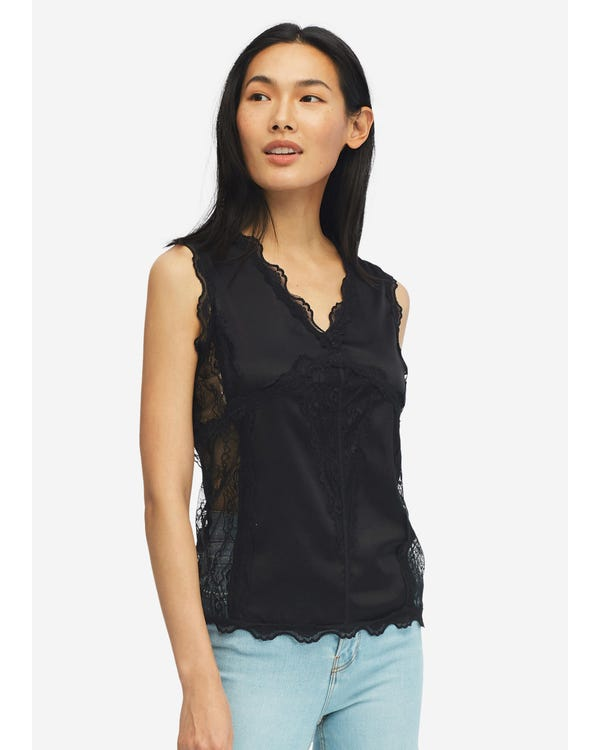 Sexy V Neck Silk Camisole With Lace