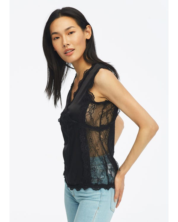 Sexy V Neck Silk Camisole With Lace-hover