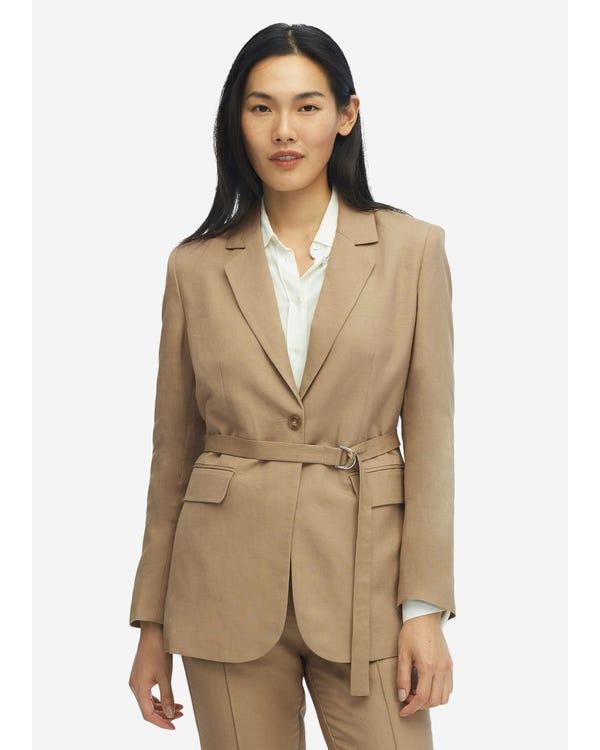 Kvinnor Silk Foder Avslappnad Vintage Bälte Blazer
