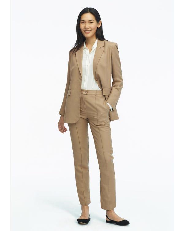 Kvinnor Silk Foder Avslappnad Vintage Bälte Blazer-hover
