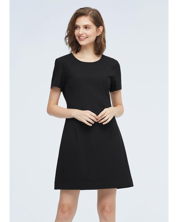 Elegant High Waist Wool Dress