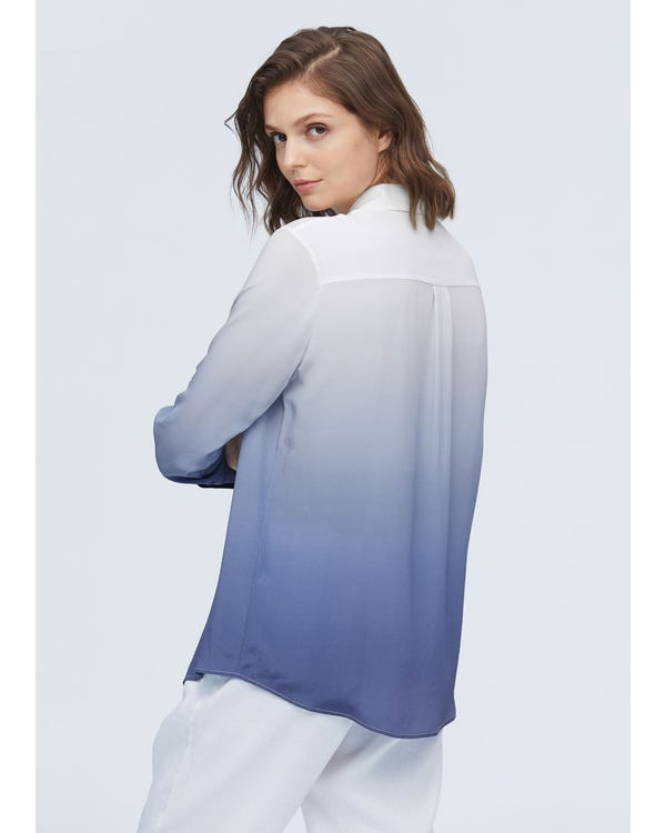 Classic Button-front Gradient Silk Shirt-hover