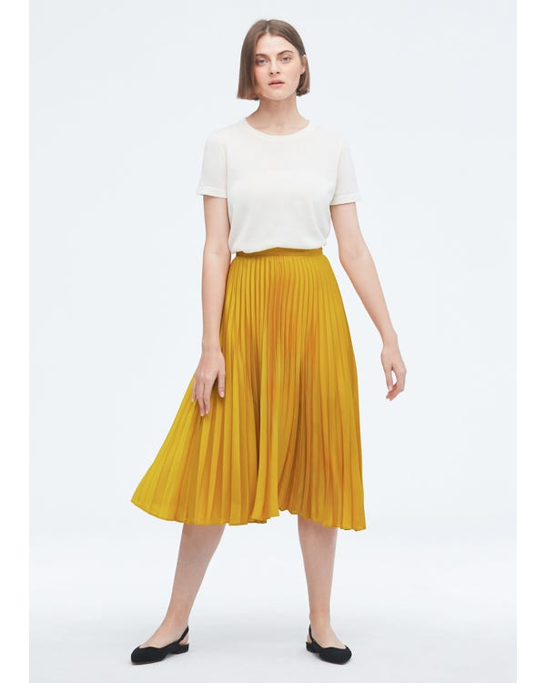 Exquisite Pleated Silk Skirt-hover