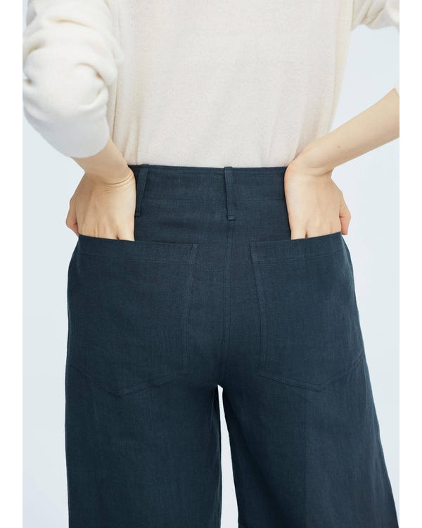 Women Casual Linen Wide-leg Pants