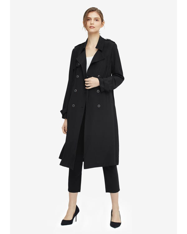 Classic Woman Double Breasted Silk Trench Coat