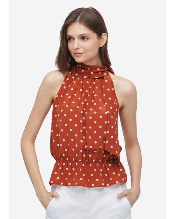 Elegant Polka Dot Silk Halter top