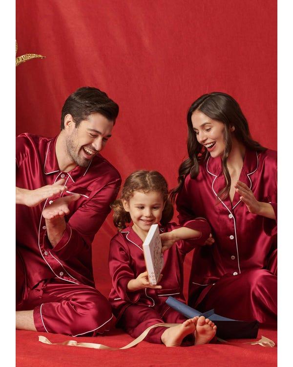 22 Momme Klassisk Full Längd Siden Par Pyjamas