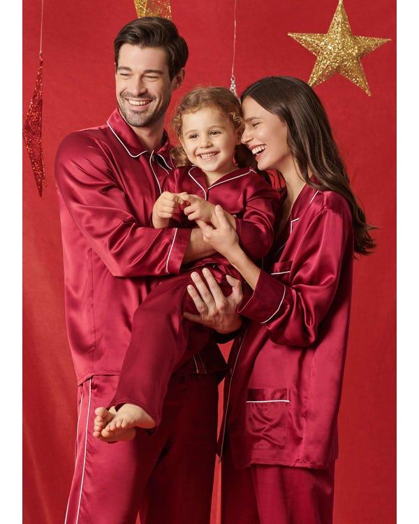 22 Momme Klassisk Full Längd Siden Par Pyjamas-hover